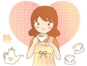 紅茶飲む女性イラスト
