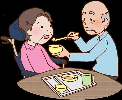 脳梗塞の妻を食事介助する夫