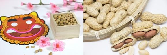 節分の豆まきの大豆と殻付き落花生の画像