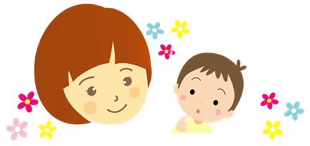 子供に節分の由来を説明する親子のイラスト画像