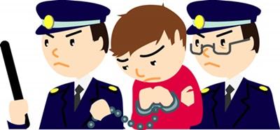 キレる子供の食生活・逮捕される少年のイラスト