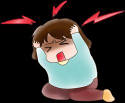 頭痛肩こりを漢方で治す片頭痛の女性イラストA