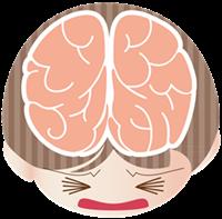 ストレス解消に役立つ食べ物頭のイラスト