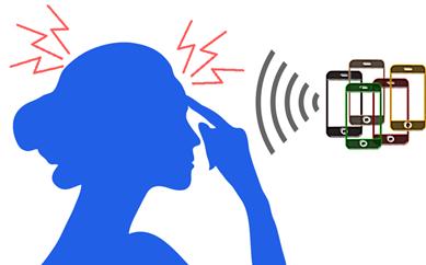 携帯電磁波を浴びて脳腫瘍になった女性のイラスト