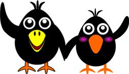 カラスの子供2羽