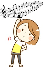 音楽に合わせてリズム運動する女性