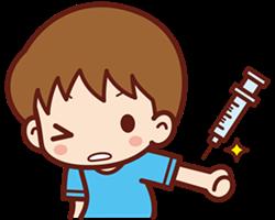 インフルエンザワクチンを注射される子供A