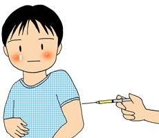 インフルエンザワクチンを打つ男の子