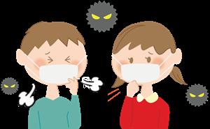 咳をする子供のマスク姿