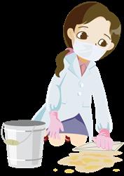ノロウイルスの嘔吐物処理のイラスト