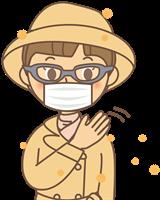 花粉症でメガネの女性のイラスト