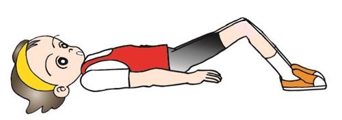 ひざを立てて横になる女性のイラスト