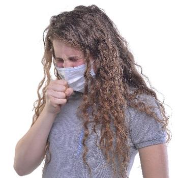 咳が止まらない外人女性の画像