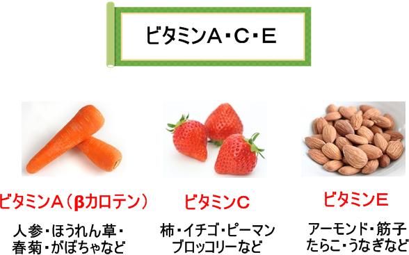 ビタミンA・C・Eを多く含む食品の画像