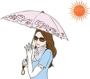 日光蕁麻疹で遮光対策をしてる女性