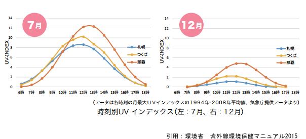 夏と冬の時刻別UVインデックスの表