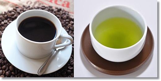 コーヒーと緑茶の画像