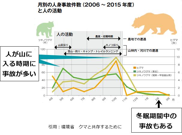 熊の月別の人身事故件数の図表