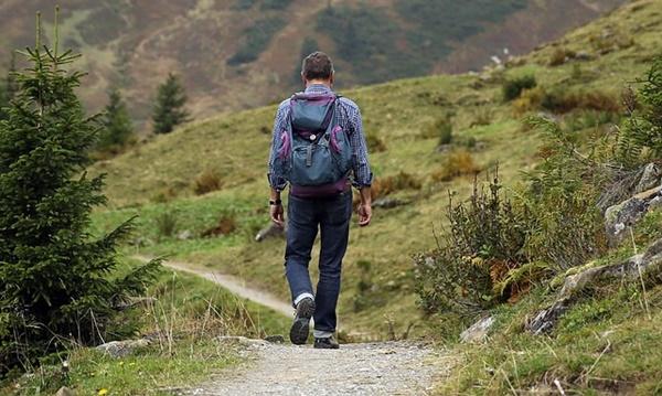 ザックを背負って森を歩く男性の画像A