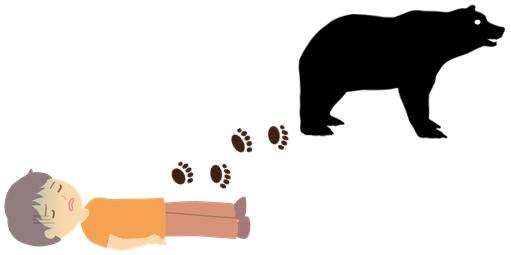 気絶した人と熊