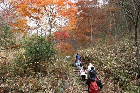 秋の登山風景