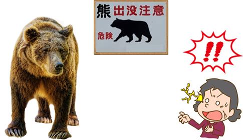熊との遭遇で驚く人の画像