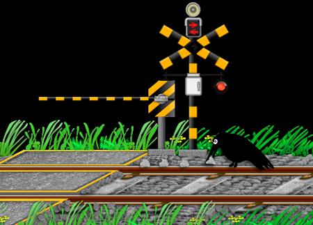 カラスが線路に置き石するイラスト画像